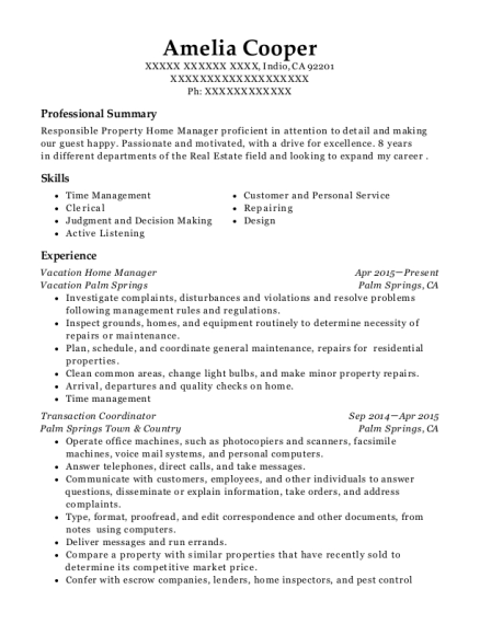 vacation palm springs vacation home manager resume sample