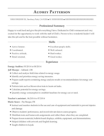 My Home Energy Solutions Energy Auditor Resume Sample - Eden ...