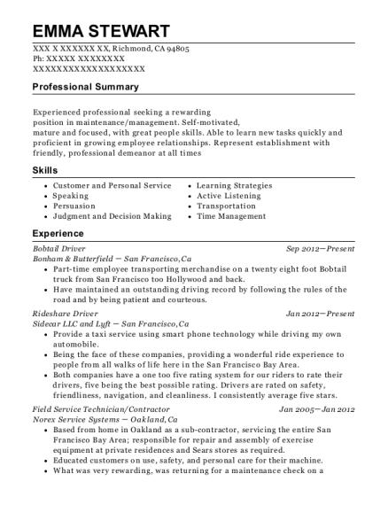 bonham butterfield bobtail driver resume sample richmond