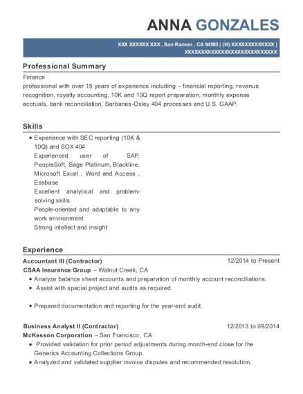 Csaa Insurance Group Accountant Iii Resume Sample - San Ramon ...