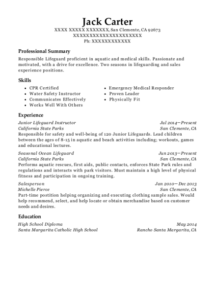 View Resume. Junior Lifeguard Instructor  Resume For Lifeguard