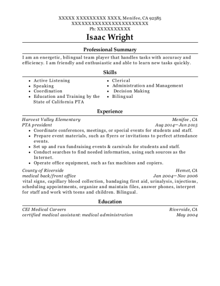 Resume For Clerical Assistant Elementary School District