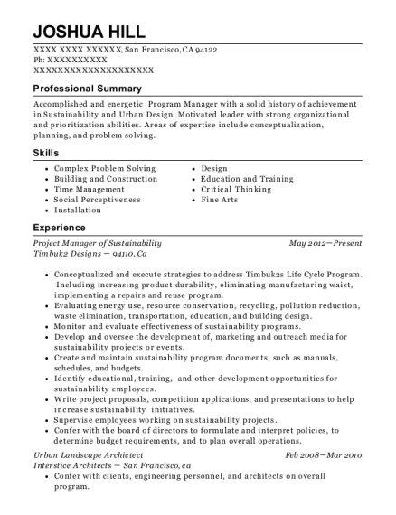 Urban Resume  Urban Planner Resume