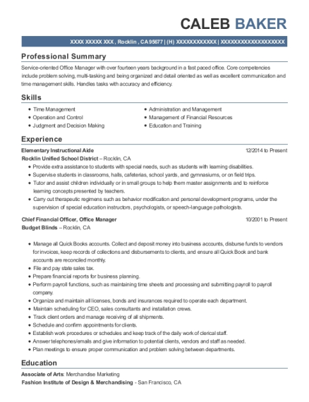 View Resume Elementary Instructional Aide