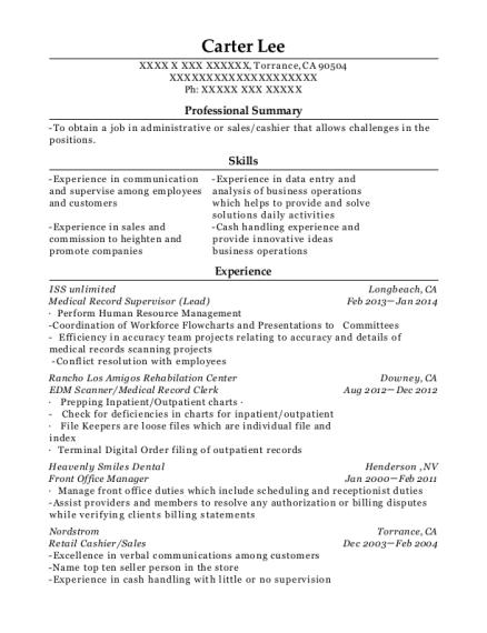 Best Medical Record Supervisor Resumes   ResumeHelp