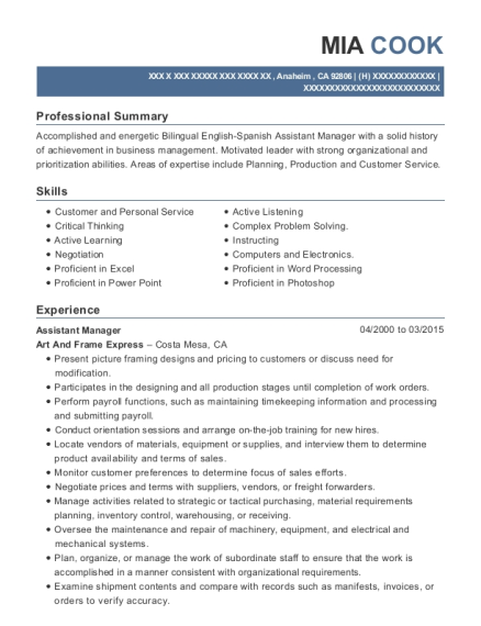 View Resume. Assistant Manager