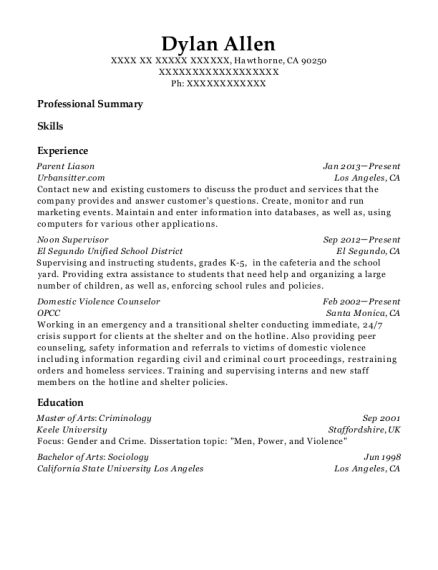 Urbansittercom Parent Liason Resume Sample Hawthorne California