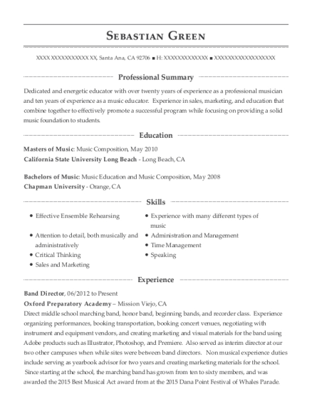 Best Student Musician Resumes Resumehelp