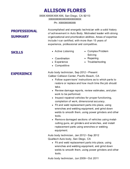 Allison Flores  Auto Body Technician Resume
