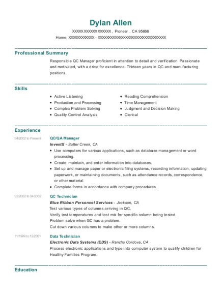 view resume qcqa manager