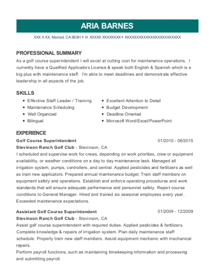 assistant golf course superintendent customize resume view resume