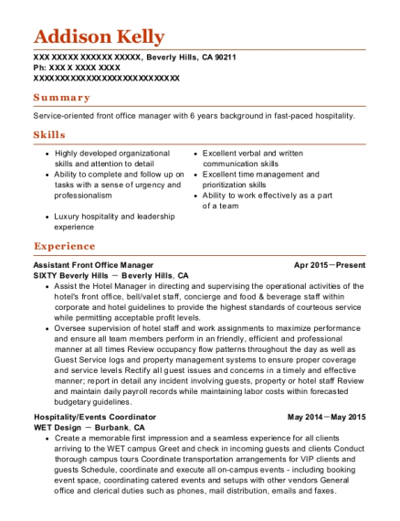 Calgary Marriott Hotel Downtown Rooms Controller Resume Sample ...
