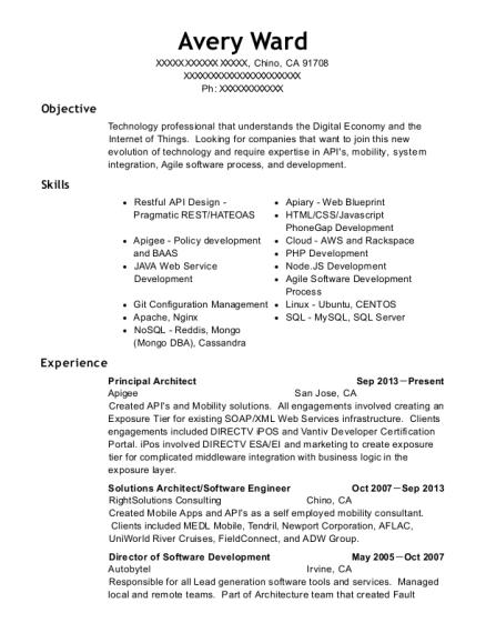 apigee principal architect resume sample chino california