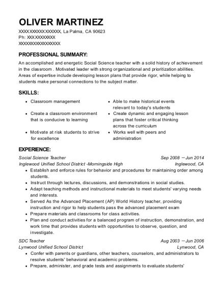 oliver martinez - Resume Of Social Science Teacher