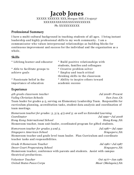 Best 4th Grade Classroom Teacher Resumes ResumeHelp