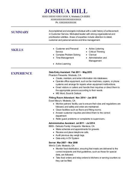 resume for room attendant