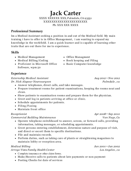 best externship medical assistant resumes