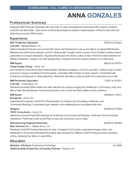 View Resume. AEC Production Specialist