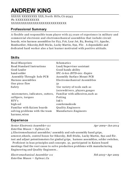 esterline mason senior electronic assembler 111 resume