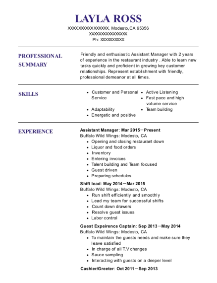 layla ross - Sample Greeter Resume