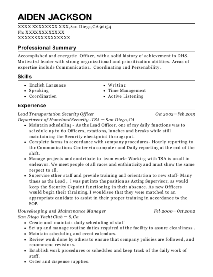 Department Of Homeland Security Resume Sample