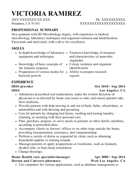 in home supportive services ihss provider resume sample