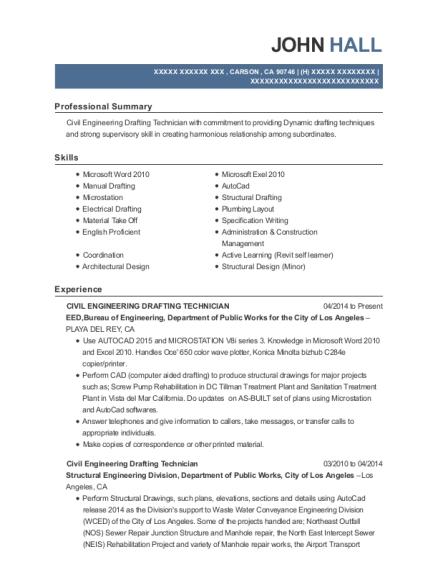 Best Civil Engineering Drafting Technician Resumes | ResumeHelp