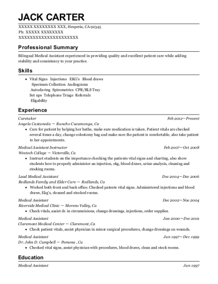 medical assistant instructor resumes