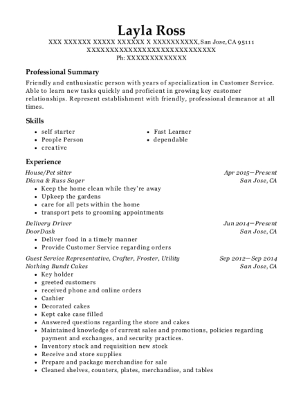 View Resume  Pet Sitter Resume