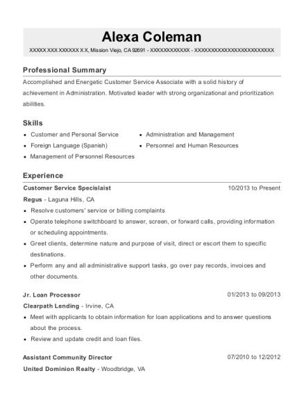 alexa coleman - Leasing Administrator Sample Resume