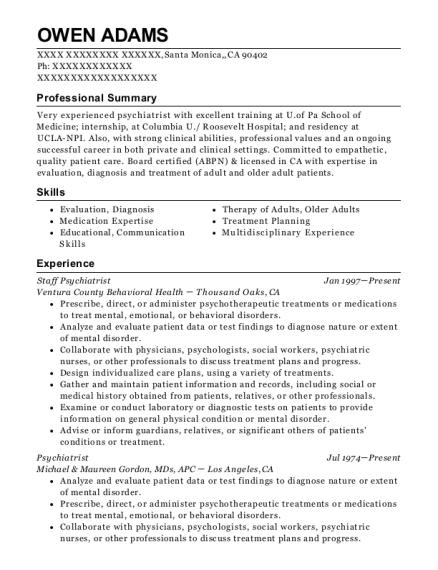 psychiatrist resumes