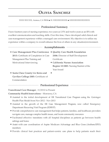 Community Health Innovations Transitional Care Manager Resume Sample ...