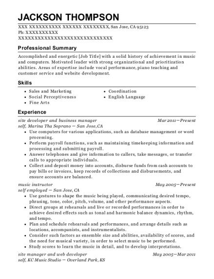 Best Piano Accompanist Resumes | ResumeHelp