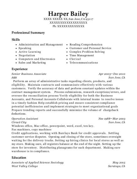 At&t Senior Business Associate Resume Sample - San Jose California ...