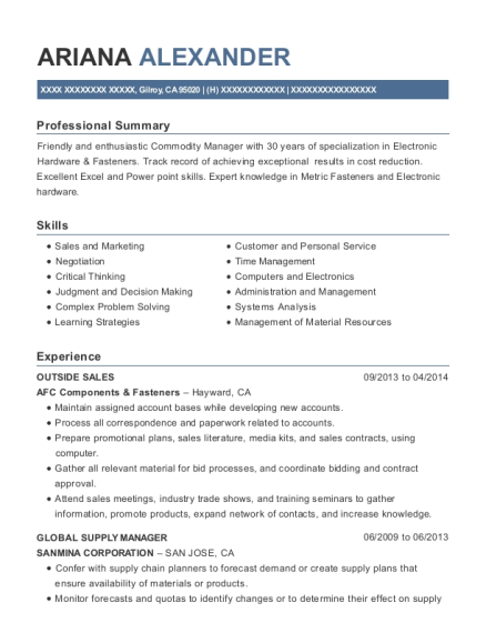 Awesome Commodity Manager Resume Photos - Best Resume Examples by ...