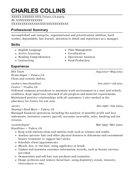 Charles Collins  Home Depot Resume