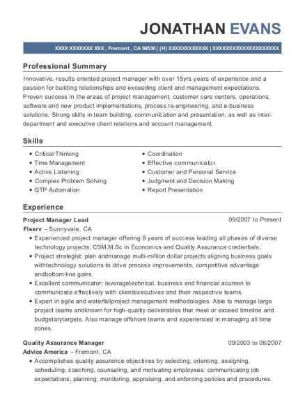 View Resume. Project Manager Lead