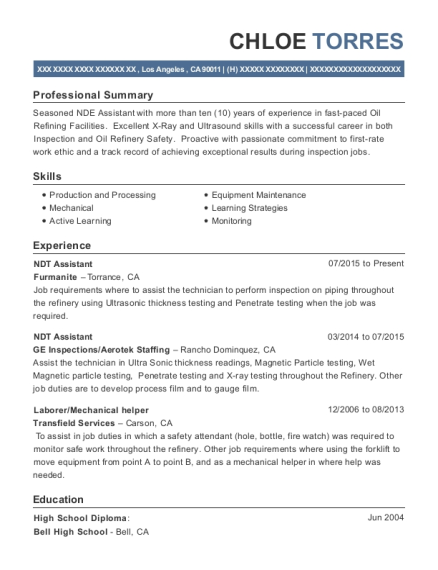 View Resume NDT Assistant