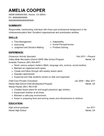 Amelia Cooper  After School Program Resume