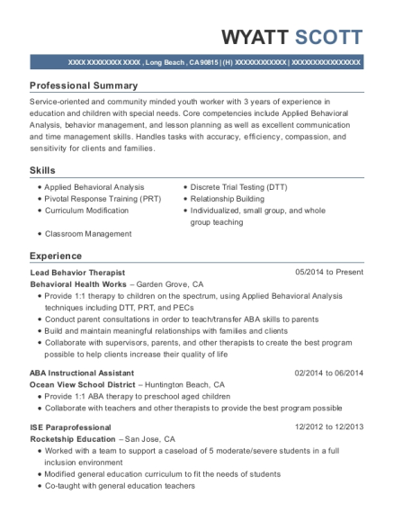 behavioral health works lead behavior therapist resume sample long