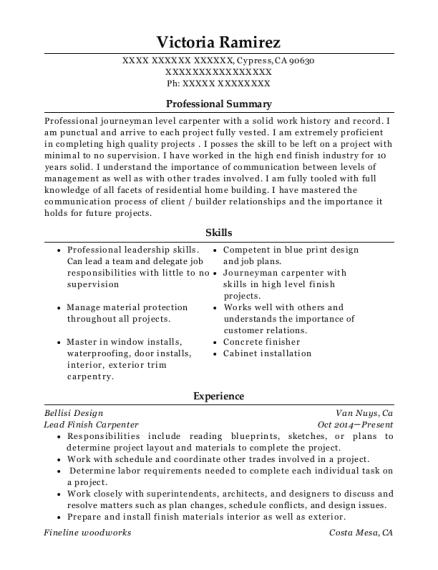 finish carpenter resume