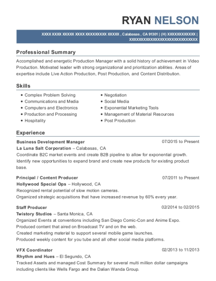 Ryan Nelson  Production Coordinator Resume