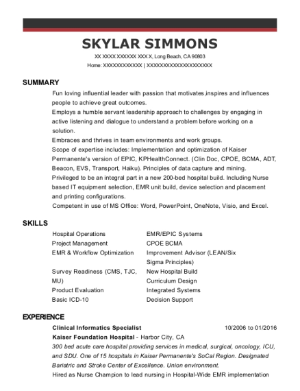 Senior Clinical Informatics Specialist , Clinical Informatics Specialist.  Customize Resume · View Resume