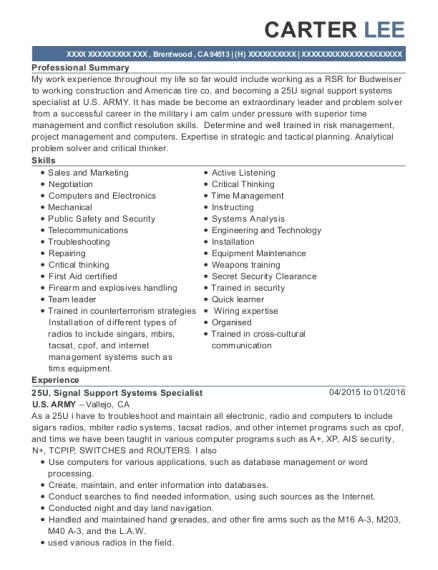 us army 25u resume sample brentwood california resumehelp