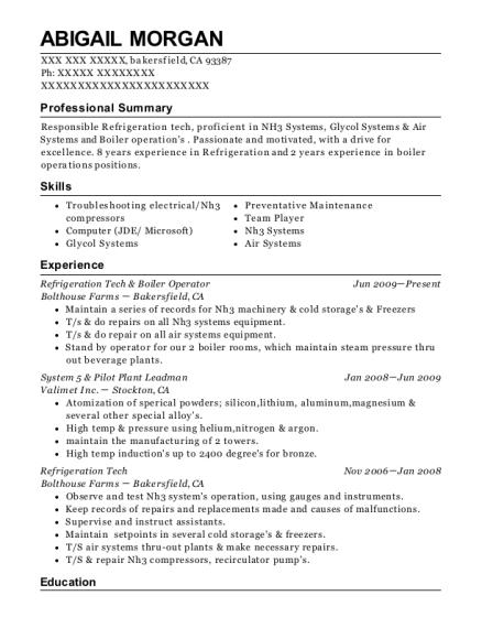 View Resume. Refrigeration Tech U0026 Boiler Operator