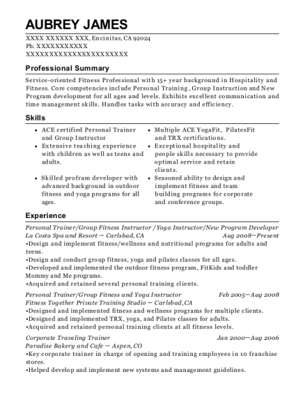 Best Group Fitness And Yoga Instructor Resumes