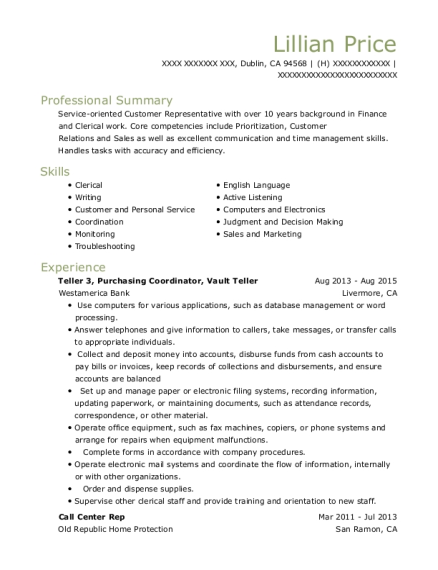 View Resume. Teller 3, Purchasing Coordinator, Vault Teller
