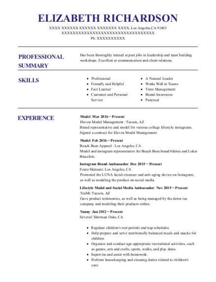 Superb Elizabeth Richardson Within Brand Ambassador Resume