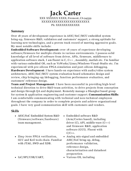 Best Principal Firmware And System Architect Resumes Resumehelp