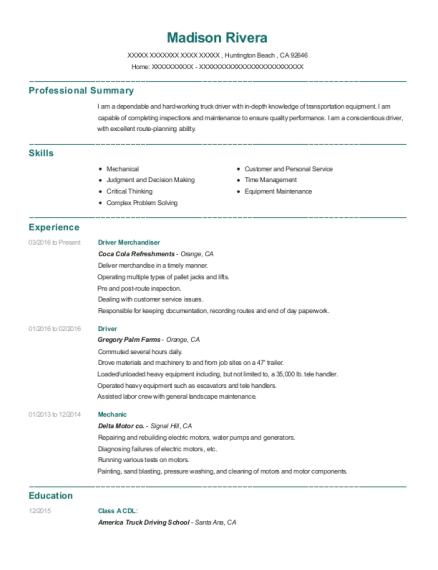 View Resume. Driver Merchandiser